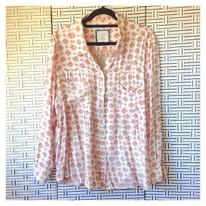 Style & Co Tribal Print Trapeze Button Down Shirt
